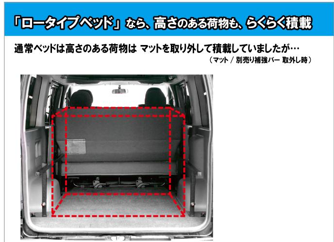 ハイエースベッドキット ロータイプ 200系 標準DX3/6人用 硬質マットタイプ【高さ25cmから35cmまで】