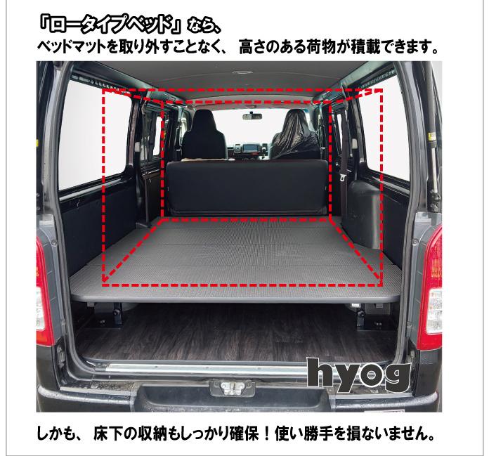 ハイエースベッドキット ロータイプ 200系 標準DX3/6人用 パンチカーペット【高さ25cmから35cmまで】