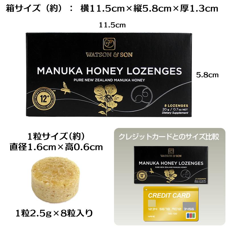 マヌカ ロゼンジ 12+ MGO400+ ピーターモラン博士MGS認証マヌカハニー のど飴,キャンディ 2.5g×8粒入 正規品 (12箱BOX)
