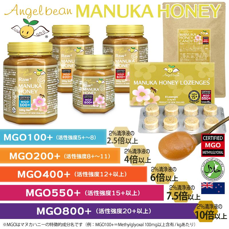 Angelbean マヌカ ロゼンジ MGO550+/活性15+ マヌカハニー95% ニュージーランド産 キャンディー のど飴 8粒入
