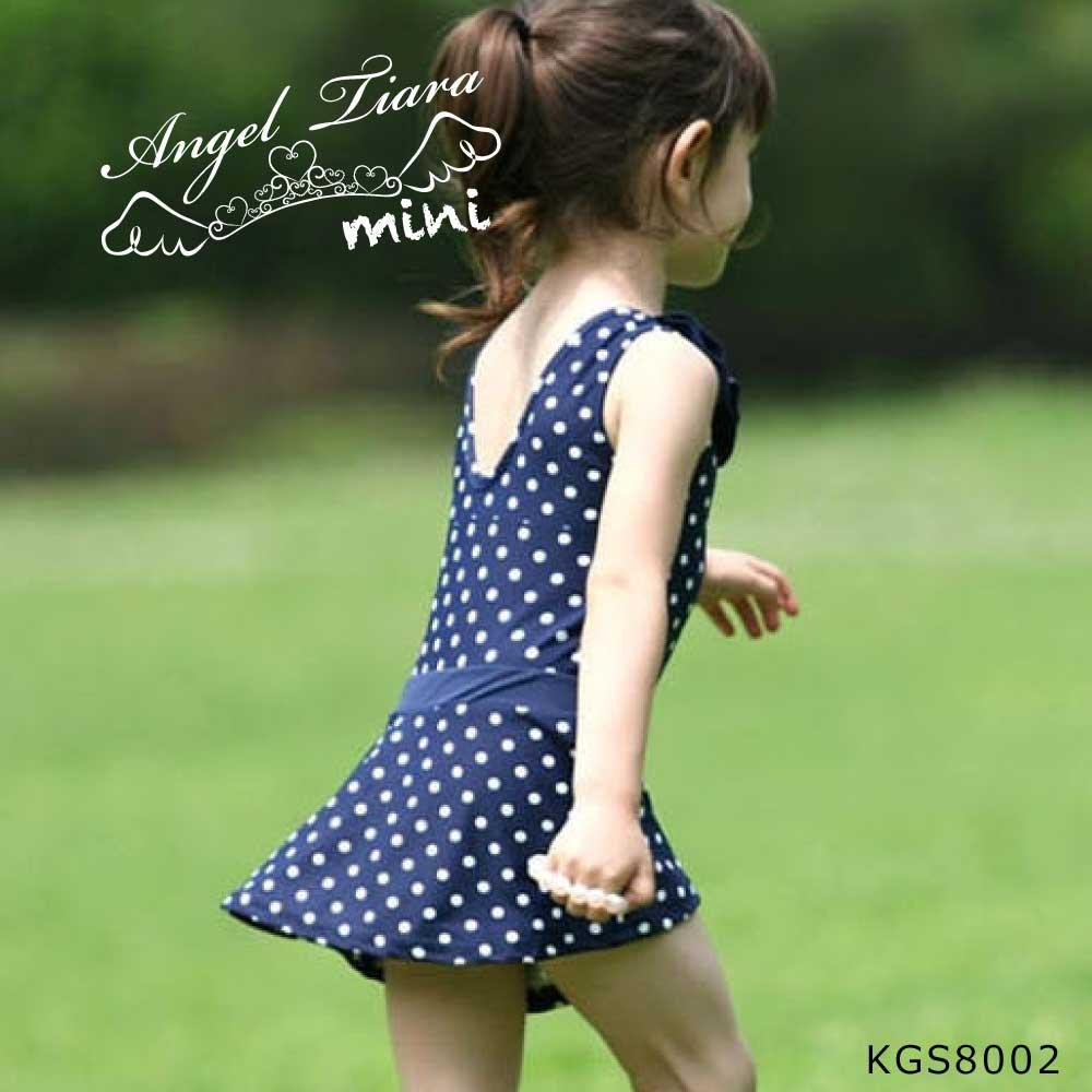 子供 女の子 水着 ワンピース フード付き ドット柄 KGS8002
