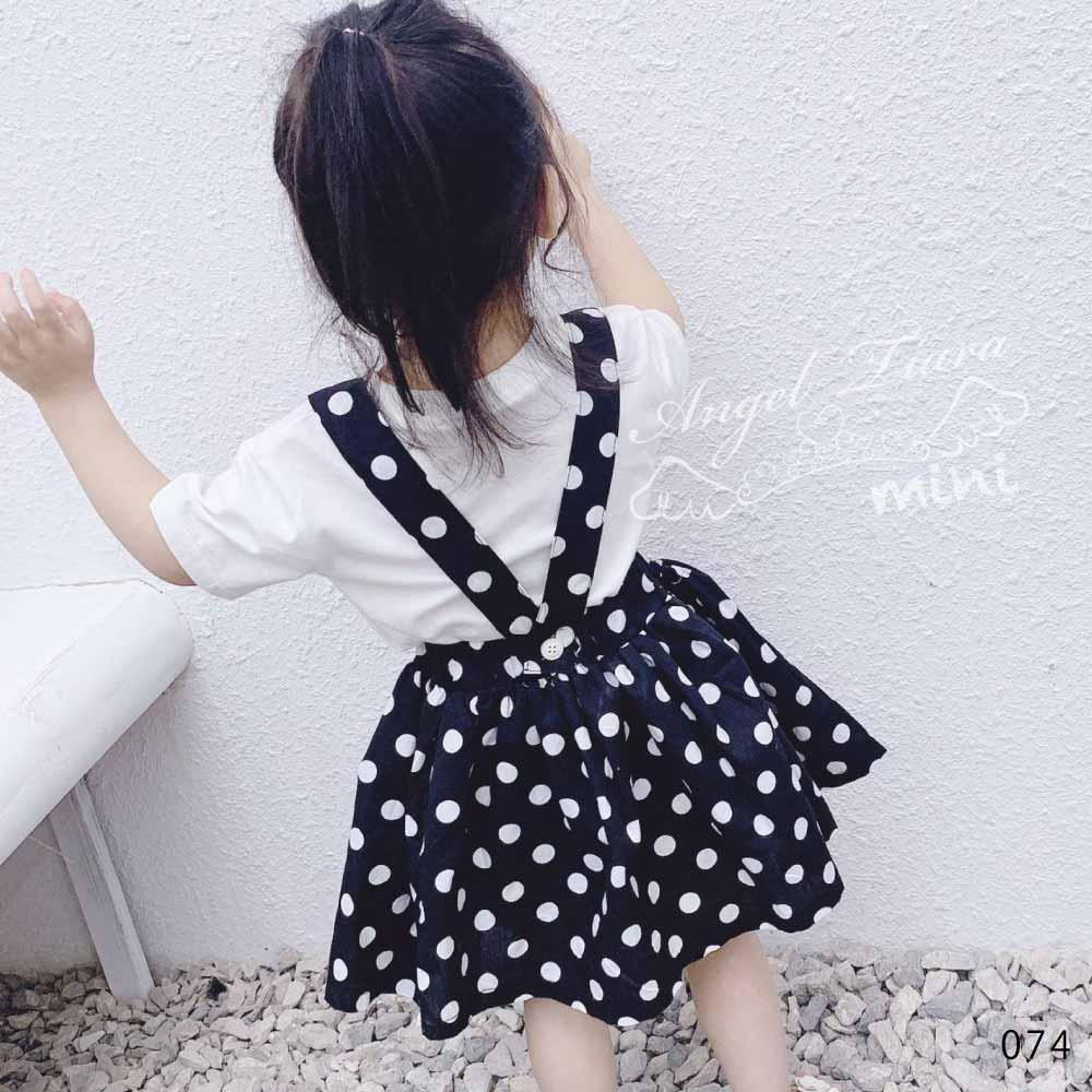 女の子 ボトムス スカート サロペットスカート ドット柄 水玉 ホワイト ブラック ミニスカート 春 夏 KG074