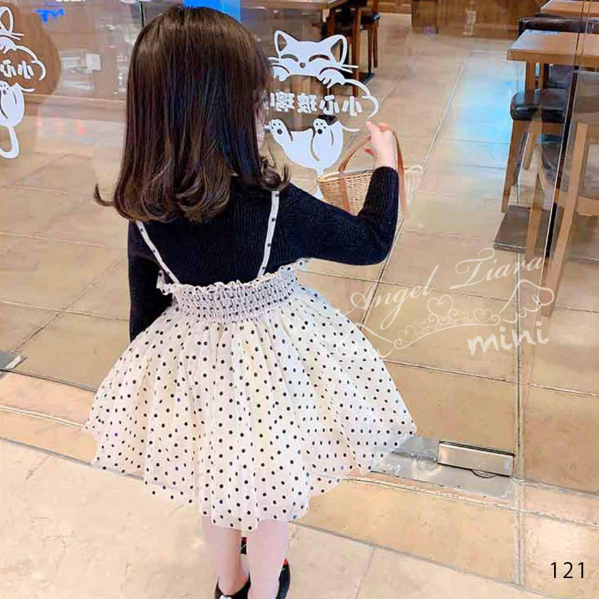 子供服 キッズ 女の子 ワンピース 長袖 重ね着風 トップス + ワンピース ドット チュールスカート ベージュ ブラック 春 秋 冬 KG121