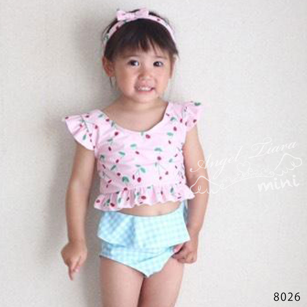 子供服 女の子 水着 キッズ セパレート 上下セット 上下別柄 さくらんぼ ギンガムチェック ピンク KGS8026
