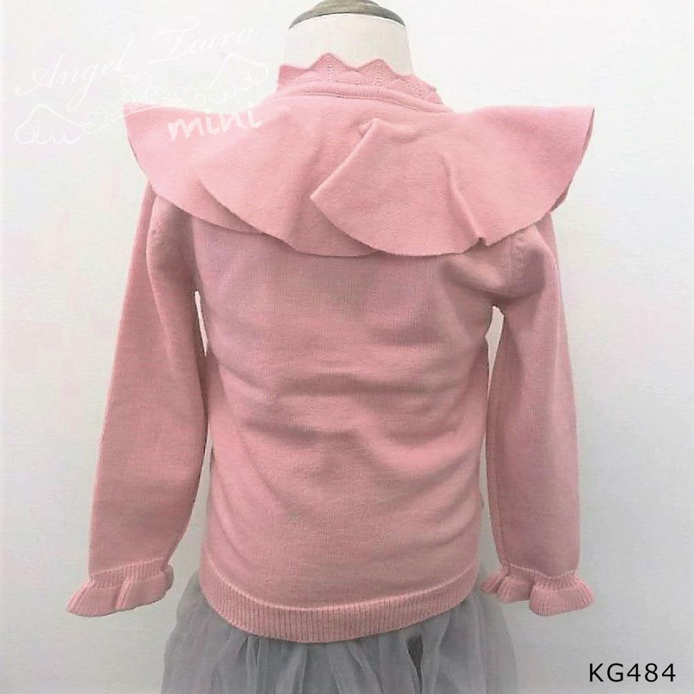 子供服 キッズ 女の子 カーディガン トップス アウター 羽織 長袖 フリル襟 大きめ襟 ピンク イエロー レッド KG484