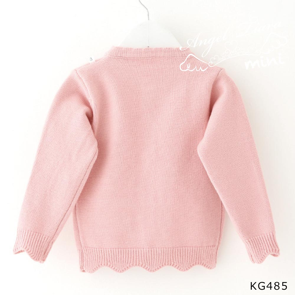子供服 キッズ 女の子 トップス カーディガン 長袖 刺繍 個性的 可愛い ピンク クリームホワイト イエロー KG485