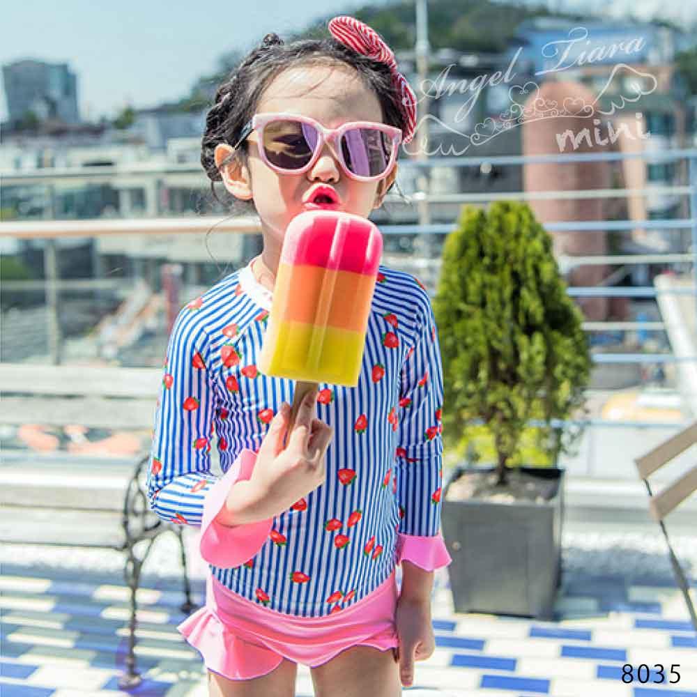 子供服 女の子 水着 セパレート水着 上下セット 2点セット 上下別柄 トップス 長袖水着 日焼け防止 いちご柄 ストライプ柄 ピンク 海 プール 温泉 スイムウエアー KGS8035