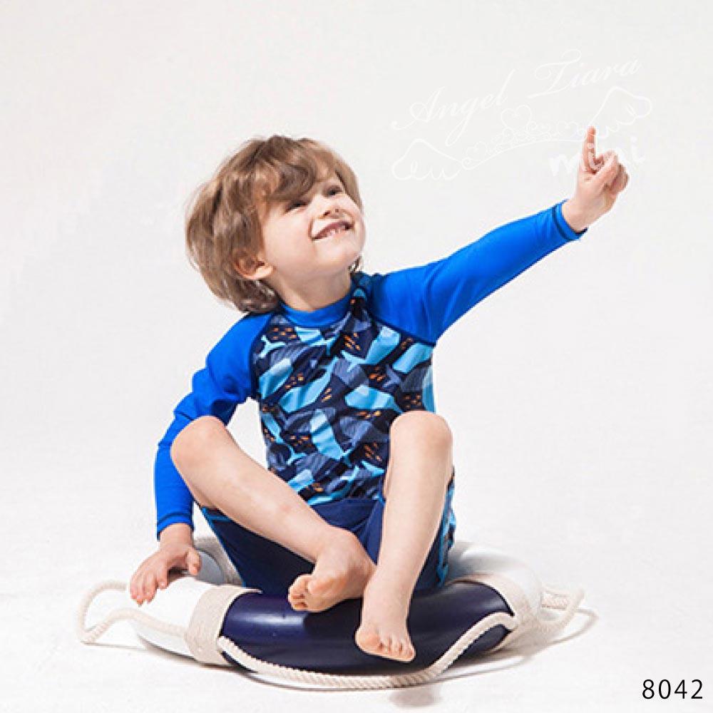 子供服 男の子 水着 キッズ 上下セット 2点セット 上下別柄 セパレート 長袖トップス + スイムパンツ 日焼け防止 ネイビー KGS8042