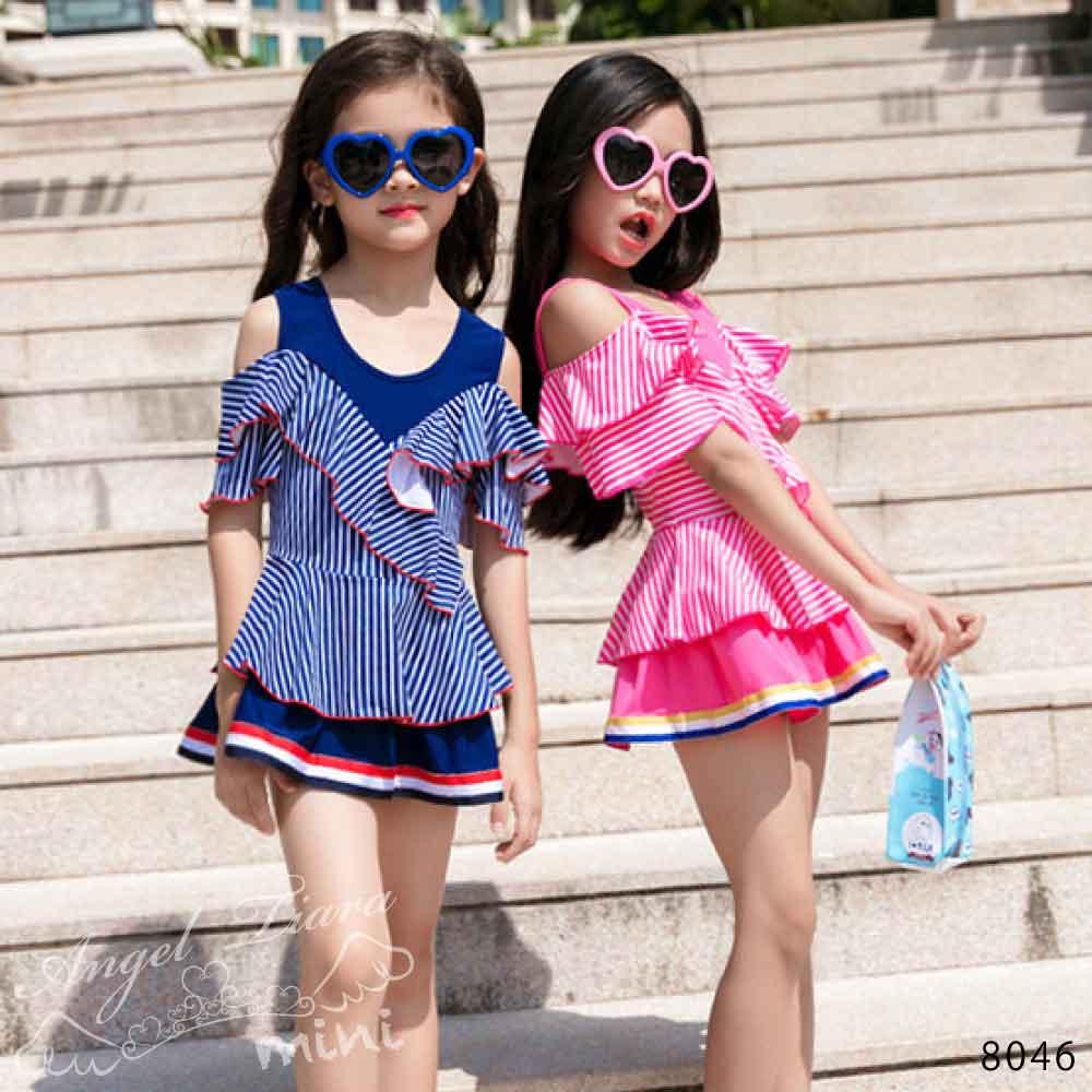 子供服 女の子 水着 キッズ ワンピース水着 肩だし 肩見せ ピンク ネイビー スプライト 小学生 海 プール 温泉 スイムウエアー KGS8046