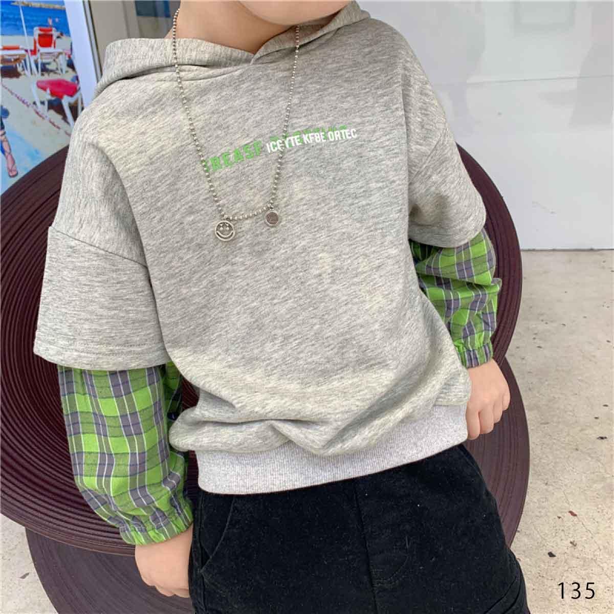 子供服 キッズ 男の子 トップス 長袖 重ね着風 トレーナー グレー ブラック カッコイイ 春 秋 冬 KG135