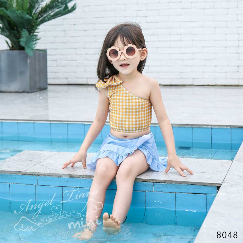 子供服 女の子 水着 キッズ セパレート 上下セット2点セット 上下別柄 ギンガムチェック イエロー ブルー スカート ワンショルダー海 プール 温泉 スイムウエアー KGS8048