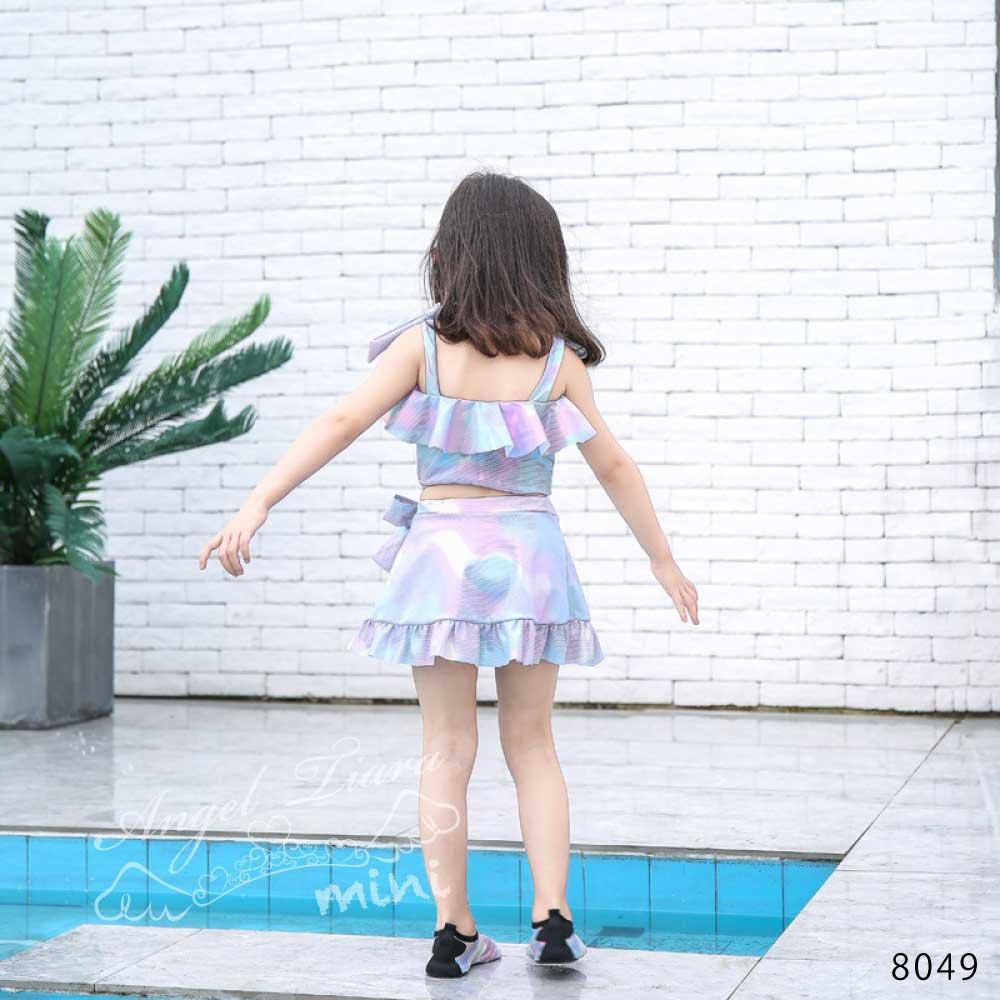 子供服 女の子 水着 キッズ セパレート 上下セット 2点セット マーメイド風 光沢 可愛い スカート 幼稚園 保育園 小学生 海 プール 温泉 スイムウエアー KGS8049