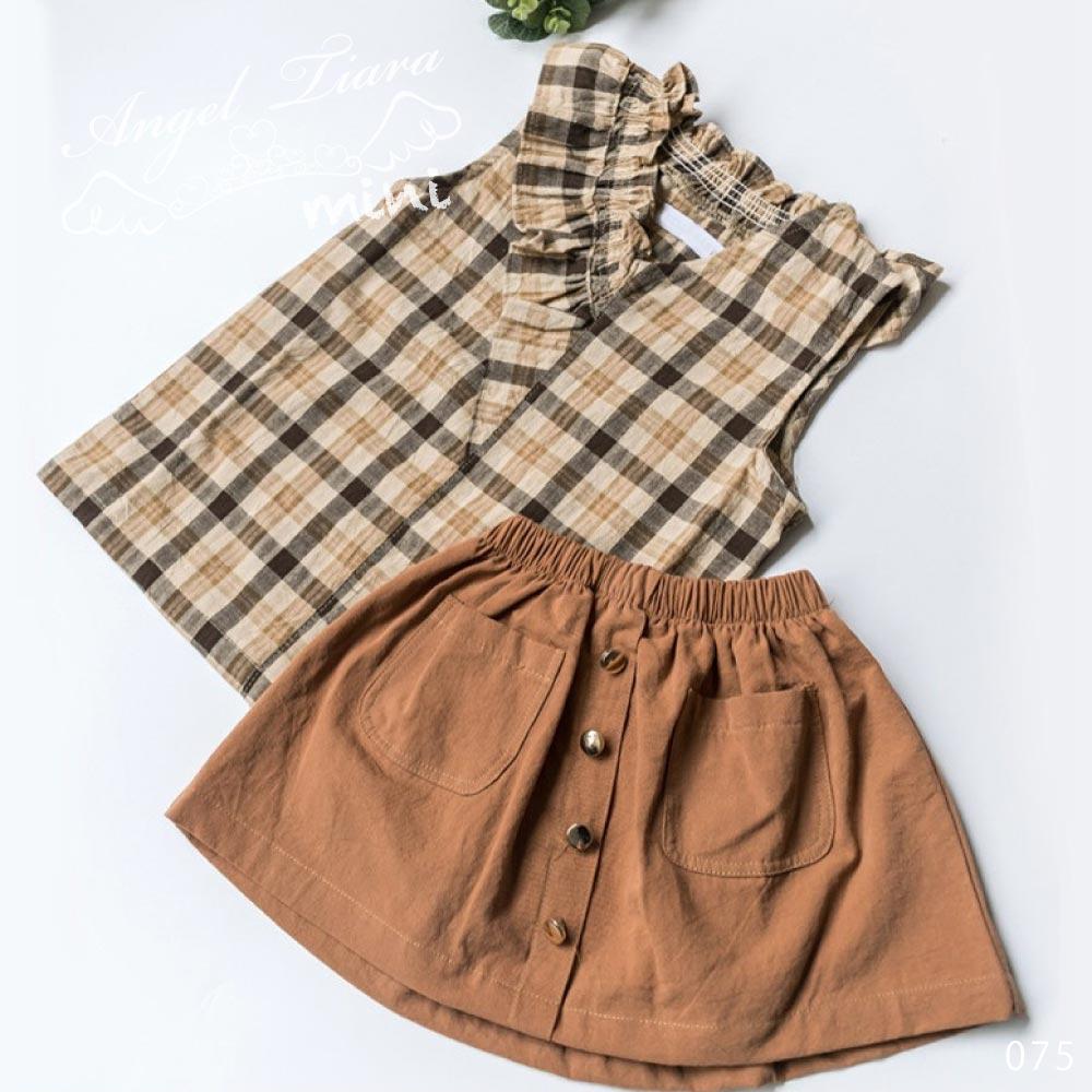 子供服 キッズ 女の子 上下セット トップス + スカート 上下セット ノースリーブ チェック柄 夏 ジュニア KG075