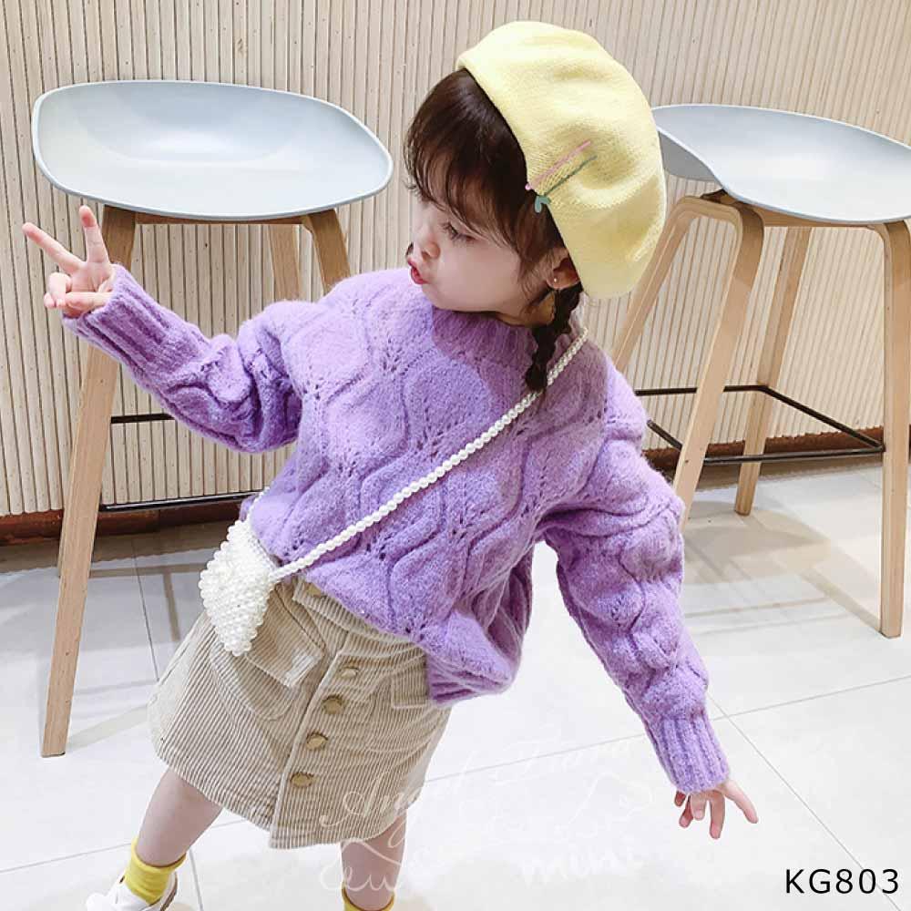 子供服 キッズ 女の子 トップス ニット ふわもこニット 長袖 秋 冬 春 可愛い 3カラー KG803