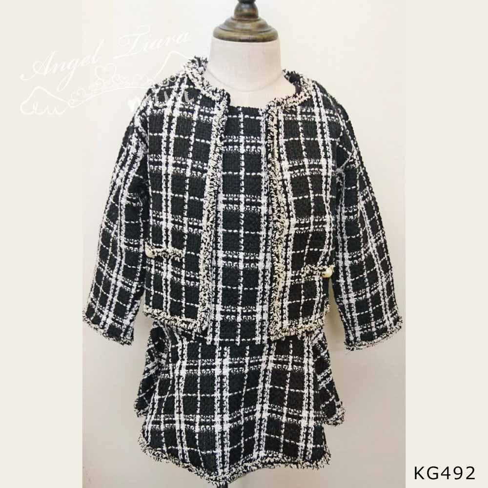 子供服 キッズ 女の子 2点セット ワンピース + ジャケット ツイード チャック ブラック フォーマル スーツ KG492