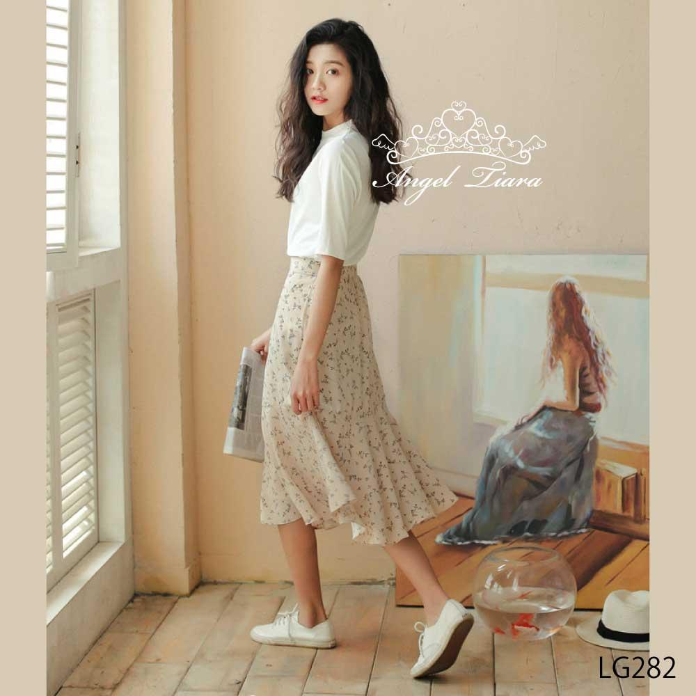 レディース ボトムス スカート フレアスカート ブラック ベージュ 花柄 春 夏 S M L サイズ LG282