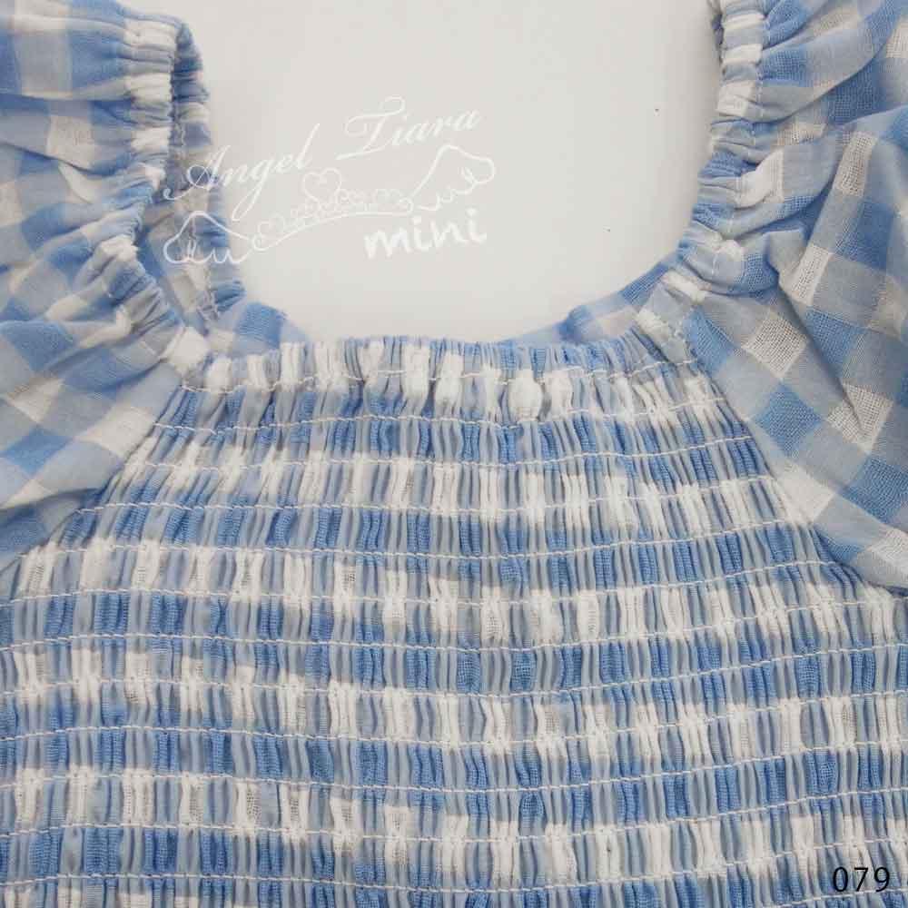 子供服 キッズ 女の子 トップス 半袖 シャツ Tシャツ ギンガムチェック 水色 ガーリーコーデ 夏 KG079
