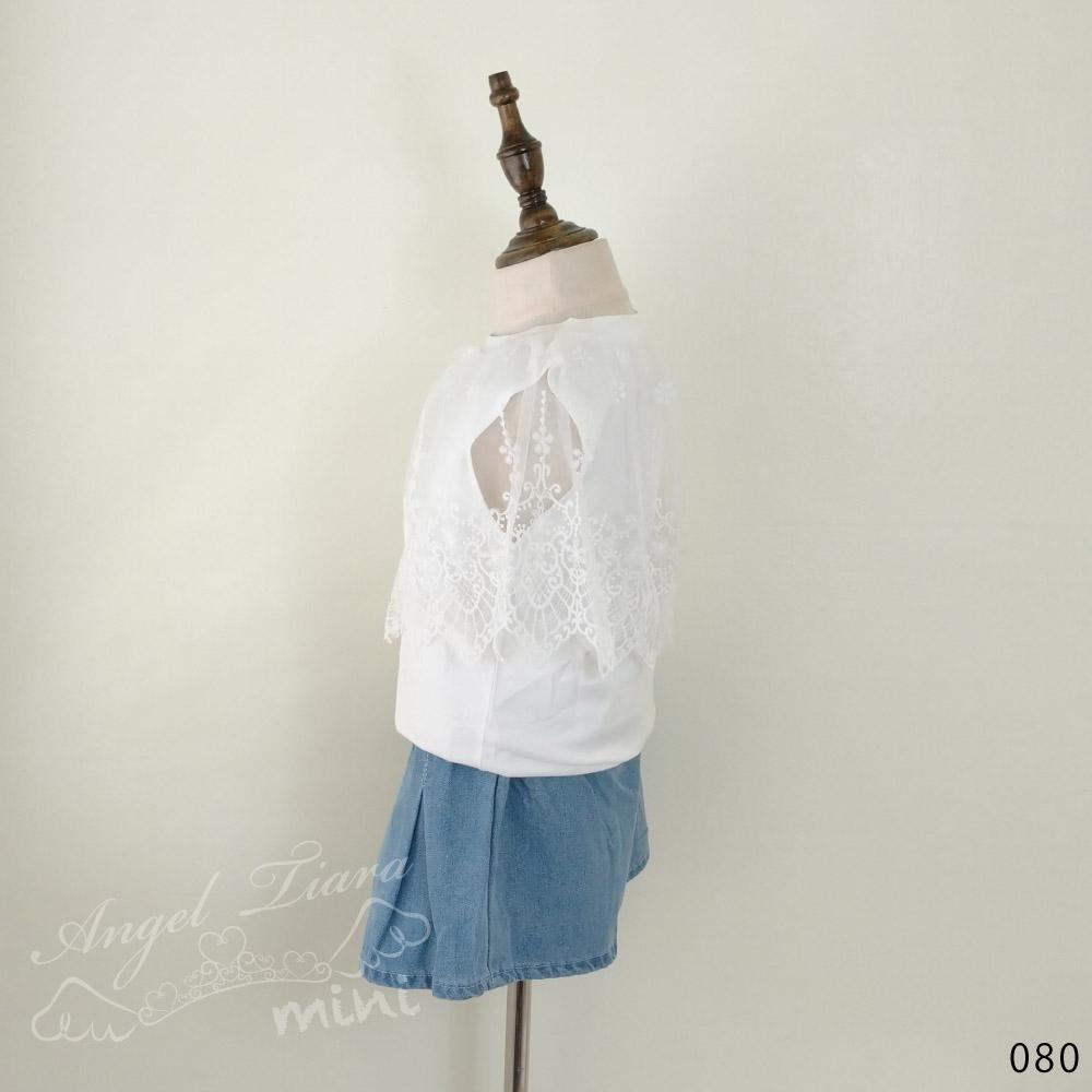 子供服 キッズ 女の子 トップス ノースリーブ ホワイト レース レース付き 可愛い 上品 オシャレ 夏 KG080