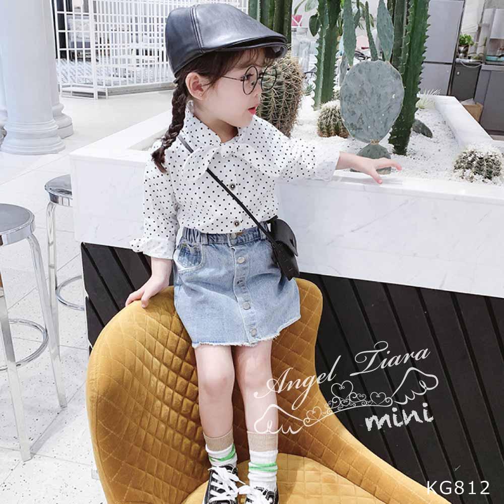子供服 キッズ 女の子 トップス シャツ 長袖 リボン ドット柄 水玉 ブラウン ホワイト 2カラー 可愛い KG812