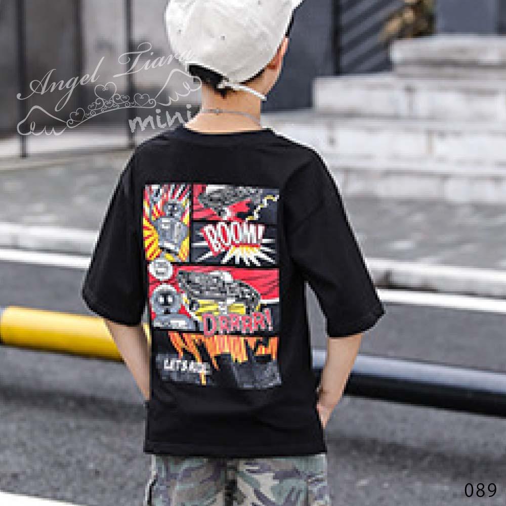 子供服 キッズ 男の子 上下セット トップス + ズボン Tシャツ 半ズボン 半袖 迷彩 カッコイイ HIPHOP B系 カジュアル 夏 KG089