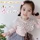 子供服 キッズ 女の子 トップス ブラウス レース 長袖 カットソー ピンク ホワイト 大きめ襟 襟 可愛い KG004