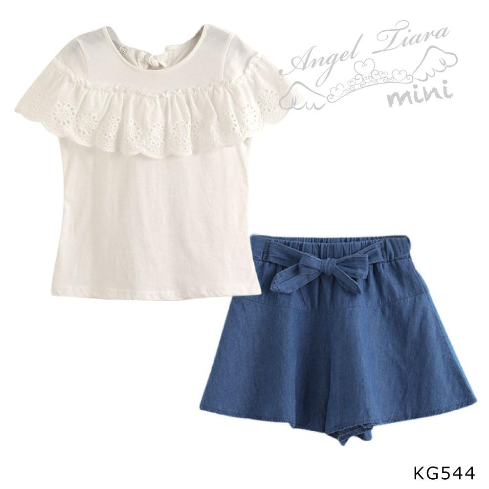 子供服 キッズ 女の子 上下セット ブラウス + ショートパンツ 夏 KG544