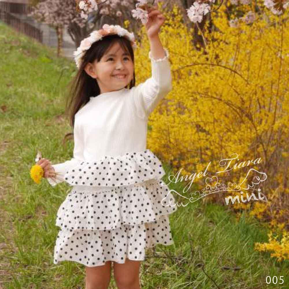 子供服 キッズ 女の子 ワンピース ドッキング 2素材 ドット柄 ワンピ 長袖 ブラック ホワイト 可愛い フェミニン KG005