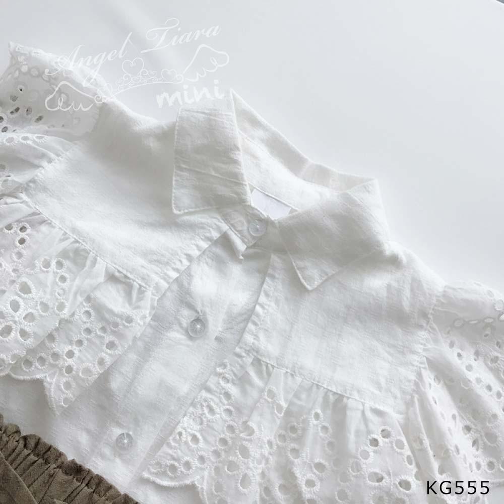 子供服 キッズ 女の子 上下セット トップス + ボトムスブラウス 大きめ襟 KG555