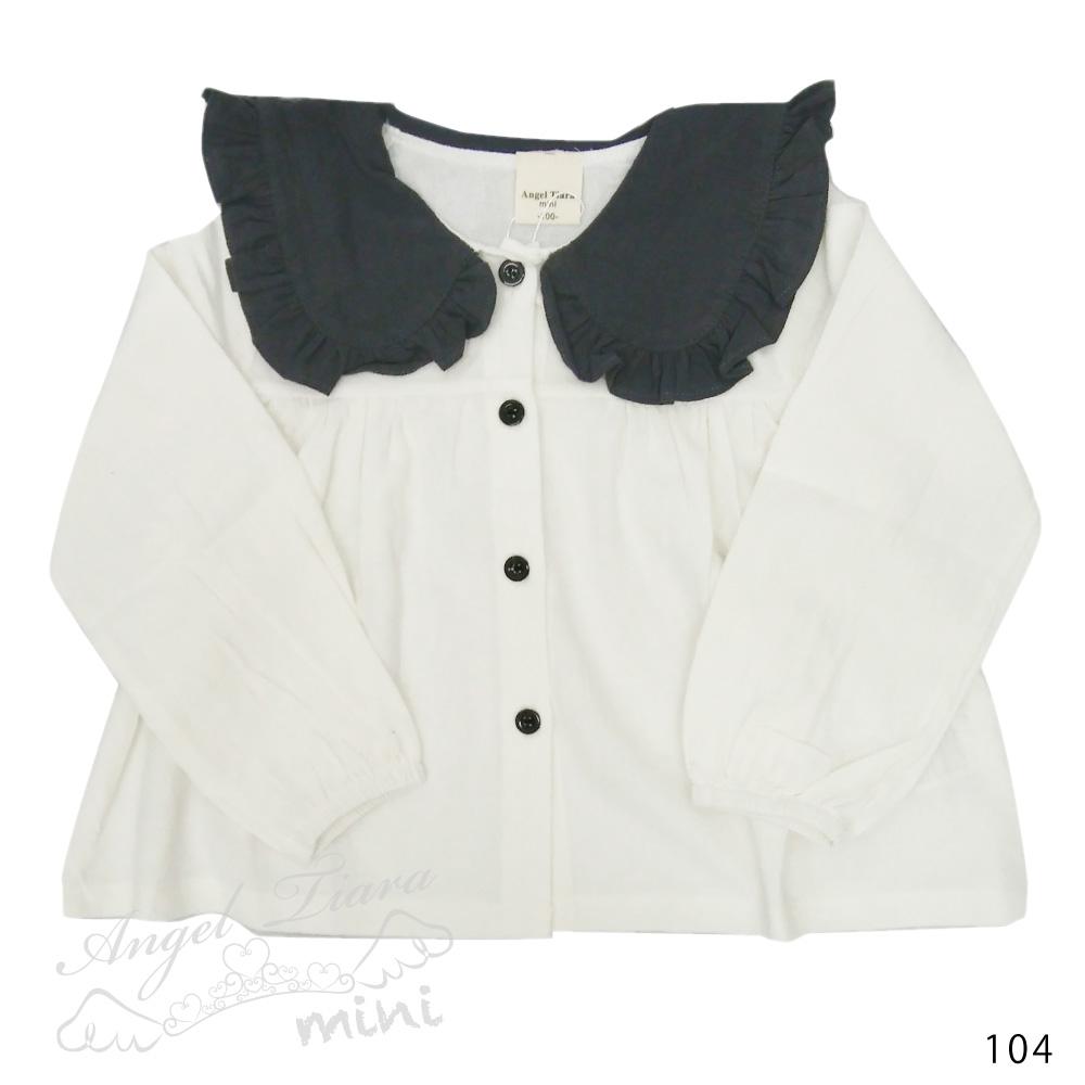 子供服 キッズ 女の子 トップス ブラウス シャツ 綿 ホワイト ベージュ 大きめ襟 フリル襟 KG104