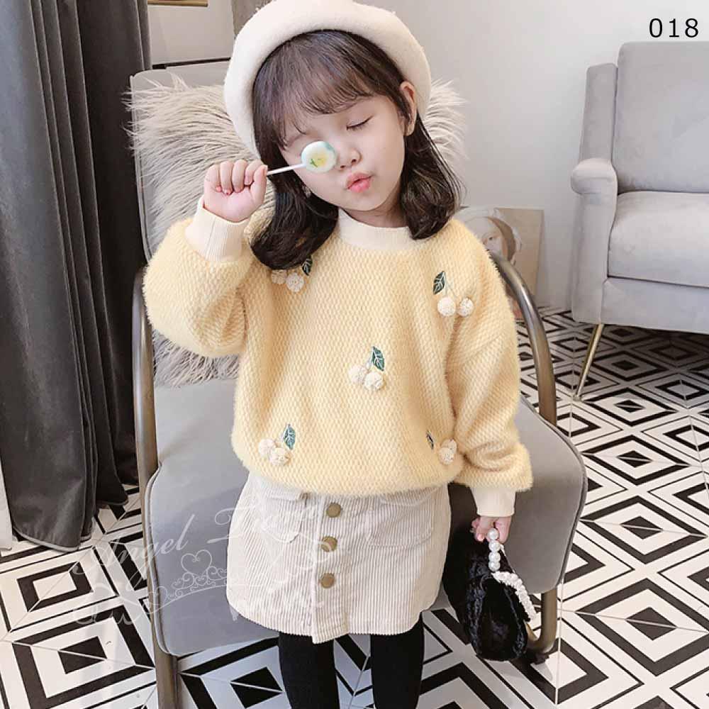 子供服 キッズ 女の子 トップス ブラウス 暖かい 裏起毛 長袖 可愛い さくらんぼ ピンク イエロー グリーン KG018