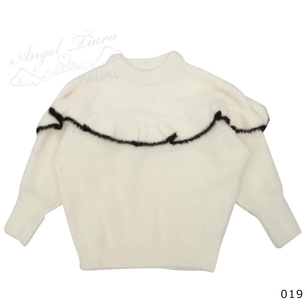 子供服 キッズ 女の子 トップス ニット モヘアニット 長袖 ふんわり 暖か 可愛い ホワイト フリル KG019