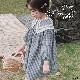 子供服 キッズ 女の子 トップス 7分丈 チュニック チェック柄 カントリー風 大きめ襟 春 秋 KG108