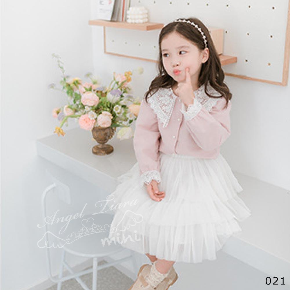 子供服 キッズ 女の子 トップス シャツ ブラウス ピンク レース襟 長袖 可愛い KG021