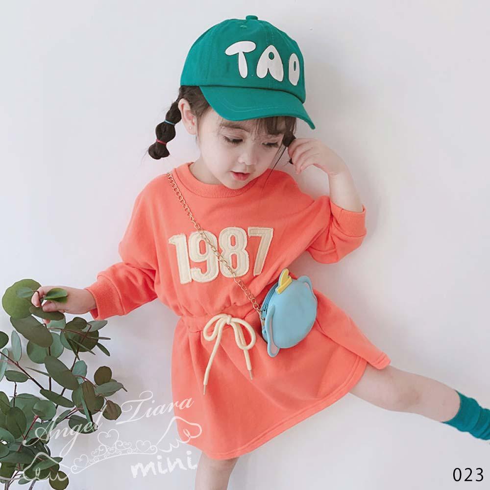 子供服 キッズ 女の子 ワンピース スウェットワンピ オレンジ チュニック 可愛い カジュアル KG023