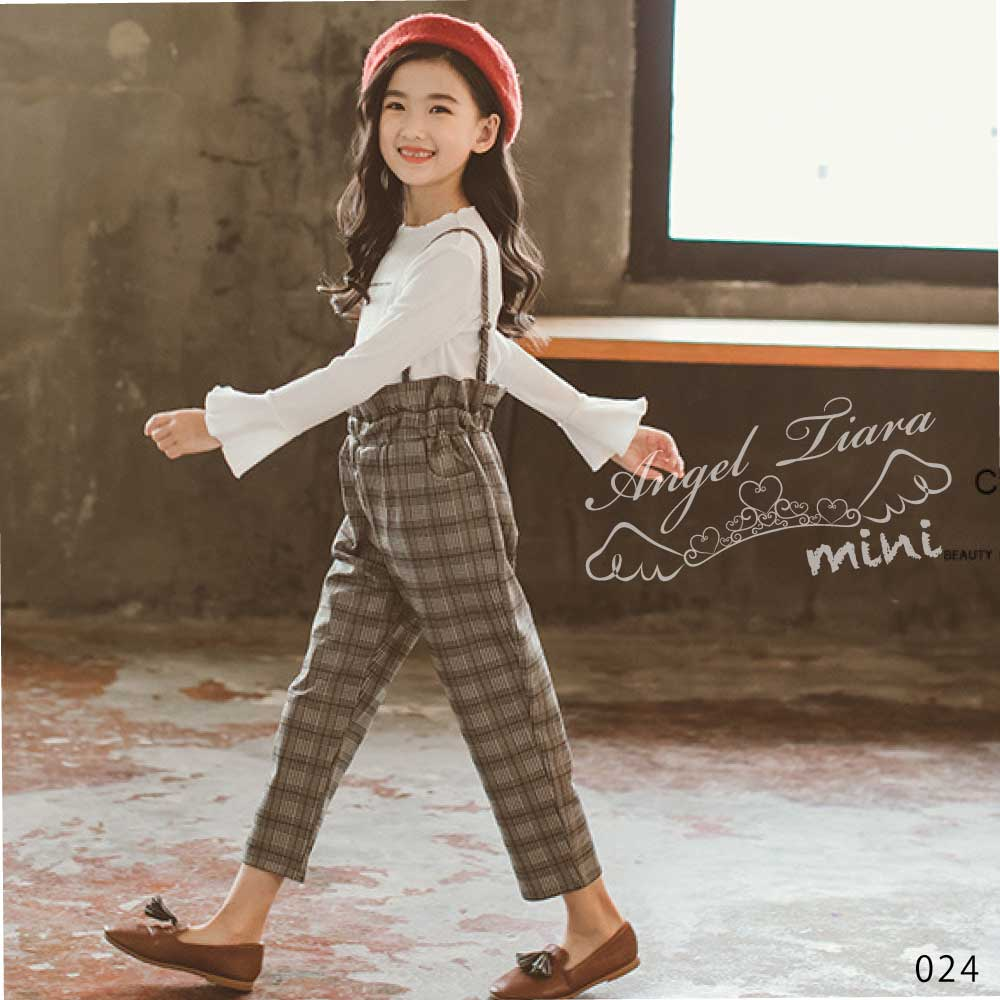 子供服 キッズ 女の子 トップス + ズボン 2点セット 上下セット 長袖 長ズボン チェック柄 ブラウン ホワイト おしゃれ ジュニア KG024