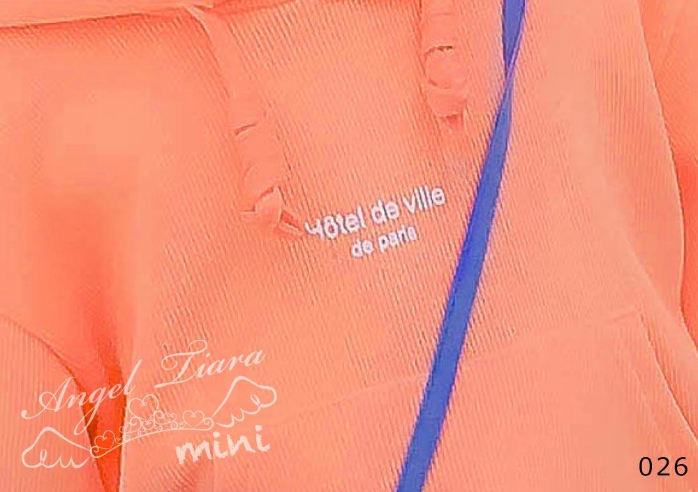 子供服 キッズ 女の子 トップス パーカー ブラウス 長袖 フード付き オレンジ 重ね着風 KG026