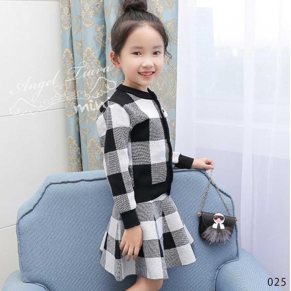 子供服 キッズ 女の子 2点セット セットアップ 上下セット ニット ブロックチェック チェック 長袖 トップス スカート フォーマル KG025