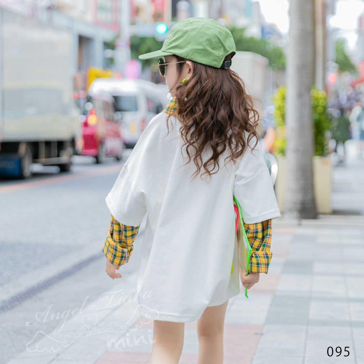 子供服 キッズ 女の子 トップス 長袖 重ね着風 ホワイト グレー カジュアル おしゃれ 春 秋 冬 KG095