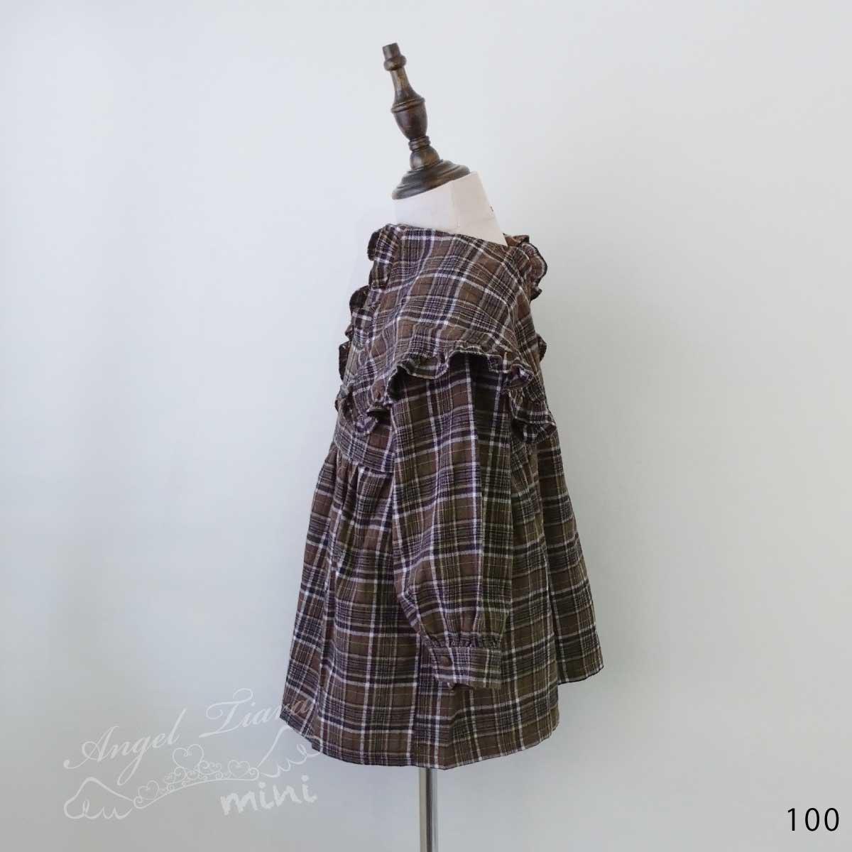 子供服 キッズ 女の子 ワンピース 長袖 ブラウン チェックワンピース ワンピ オシャレ クラシカル KG100