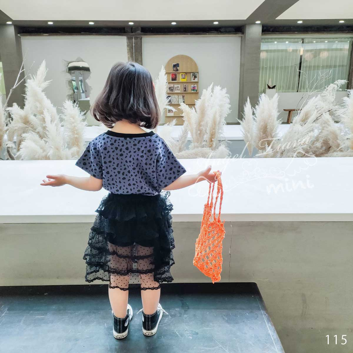 子供服 キッズ 女の子 ボトムス チュールスカート スカート スパッツ付き 足見せ ブラック ドット柄  KG115
