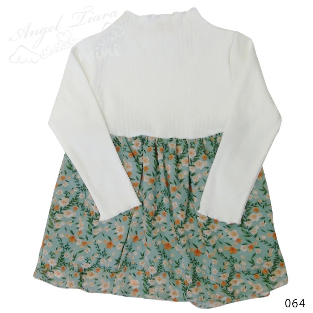 女の子 ワンピース ワンピ 切り替えワンピ 長袖 花柄 リブニット オレンジ グリーン 春 KG064