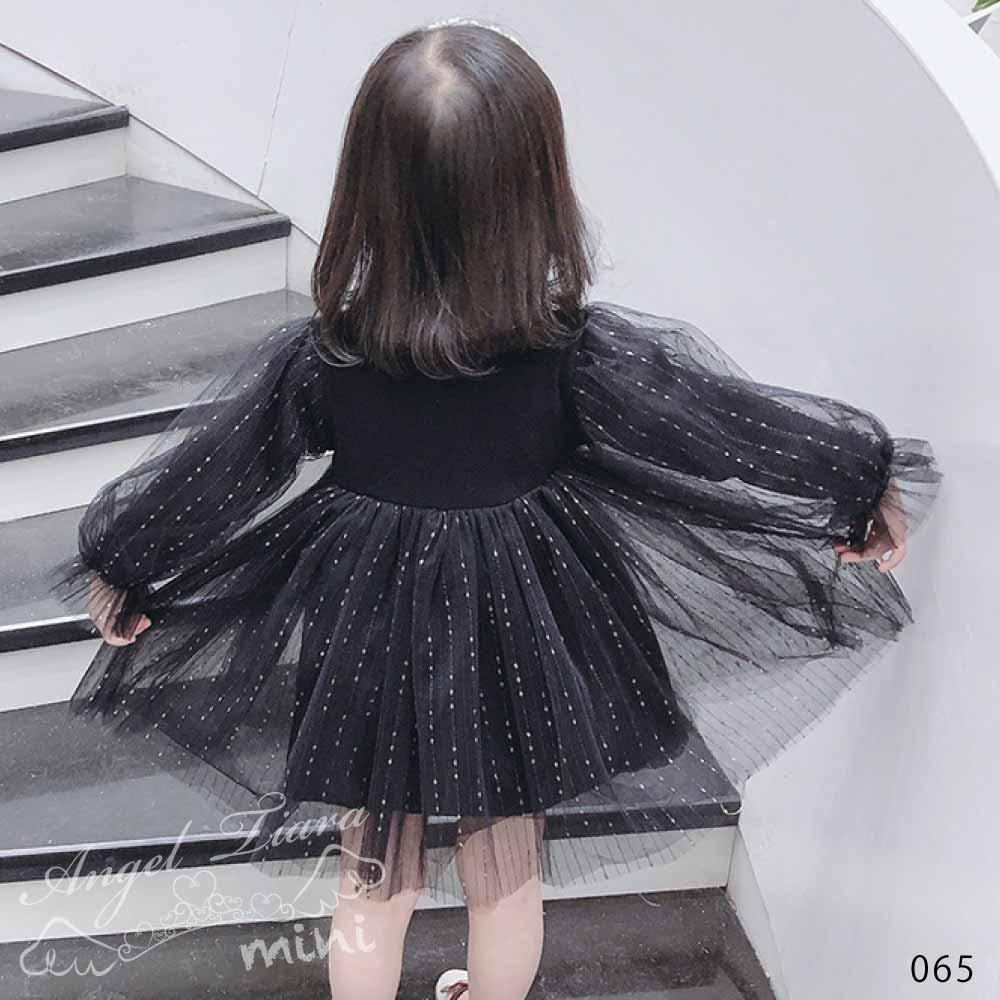 女の子 ワンピース ワンピ チュール 長袖 ふんわり 可愛い ホワイト ブラック KG065