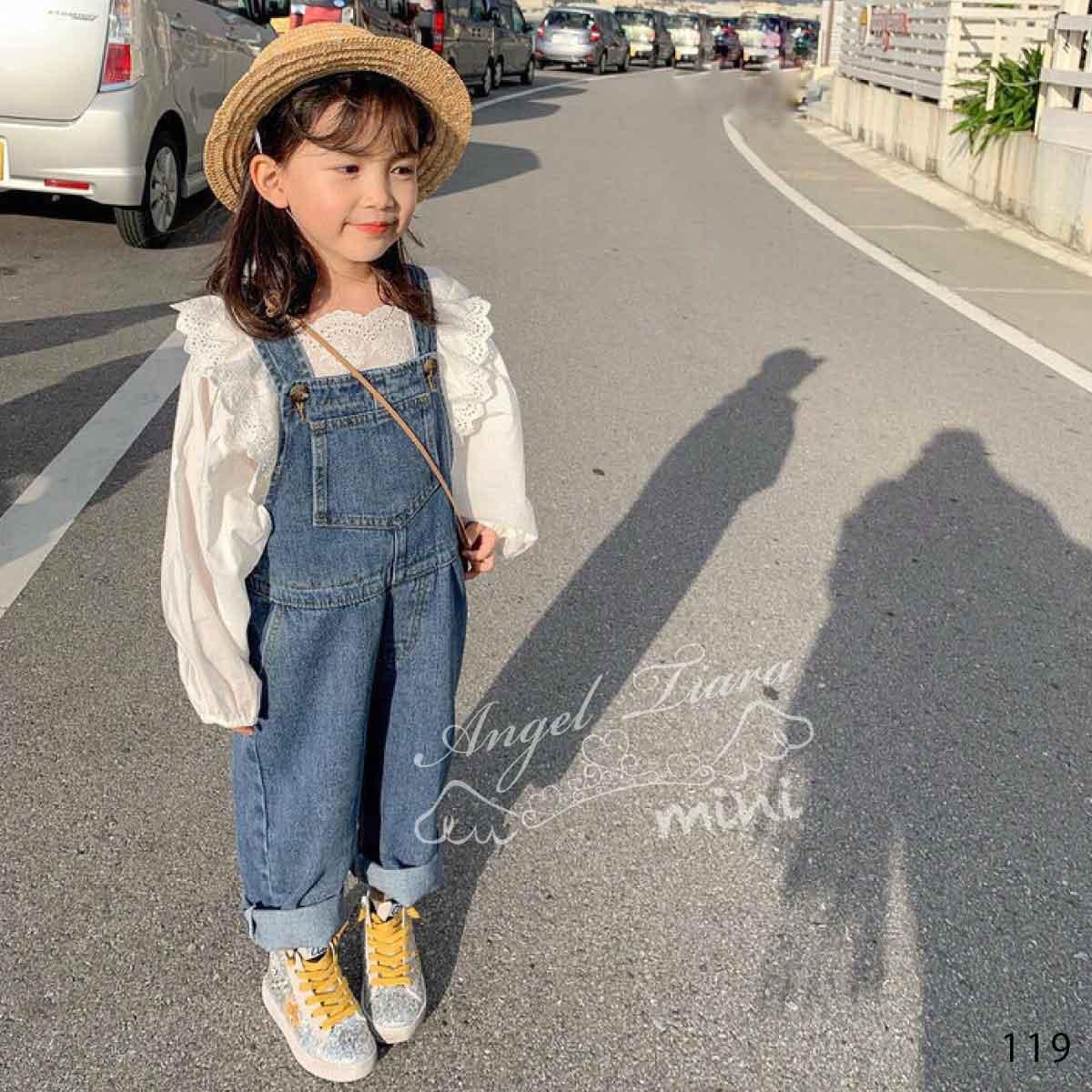 子供服 キッズ 女の子 トップス ブラウス 長袖 ホワイト ボリューム袖 ゆったりシルエット KG119