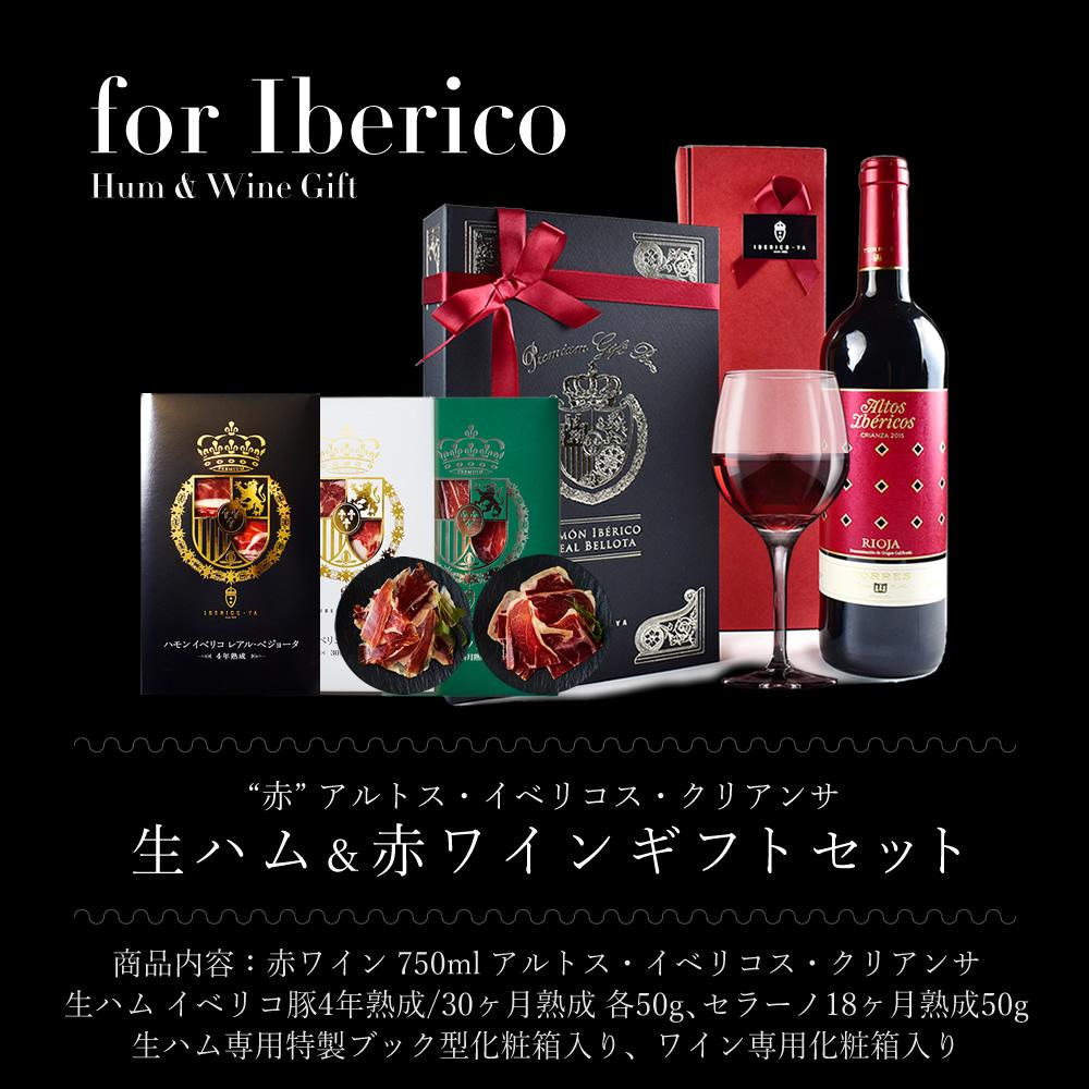 赤ワインセット イベリコ豚 生ハム 4種×50g ギフトセット ※ イベリコス&生ハム ブック箱