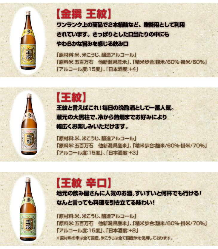 王紋 辛口6升晩酌祭り(1800ml×6本)