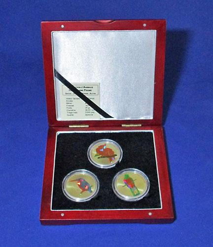 コンゴ プリズム・カラーコイン 10フラン銀貨 3種 2004 Proof