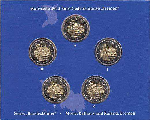 ドイツ ブレーメンの市庁舎とローラント像 2010-5種 2ユーロセット