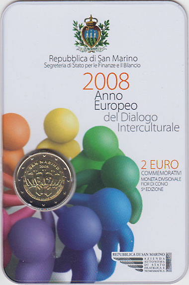 サンマリノ 2008 異文化間対話欧州年  2ユーロセット