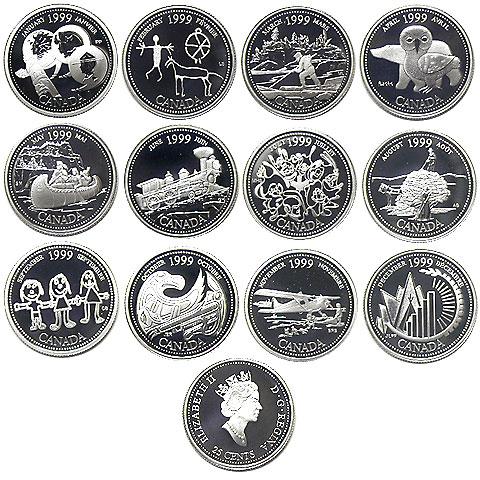 カナダ ミレニアム記念 25¢銀貨 12種入り プルーフセット 1999  第1次