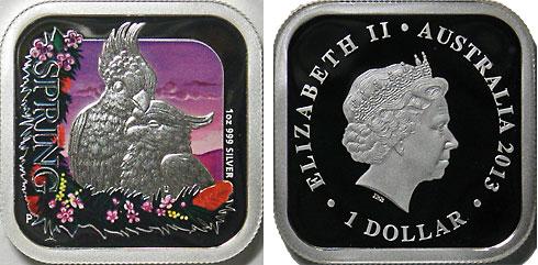 オーストラリア 2013 豪州の四季・キバタン 角型1ドル銀貨 Proof 箱・証明書付き